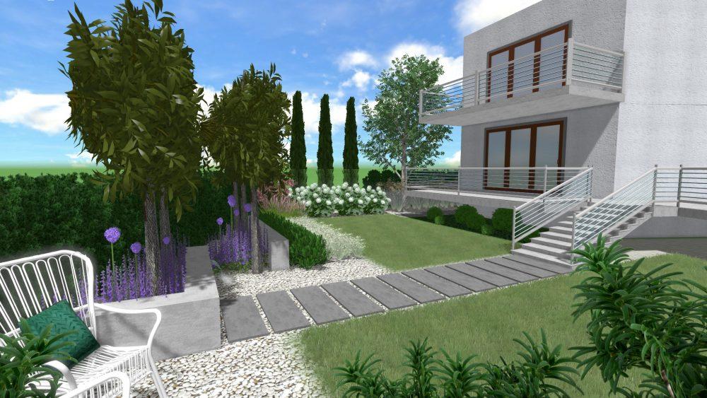 mała ogród z elementem wodnym w Poznaniu projekt zieleni rockandflower studio architekt krajobrazu