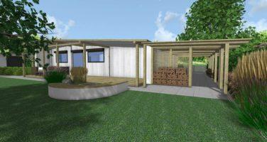 ogród skandynawski, drewno w ogrodzie, projekt ogrodu