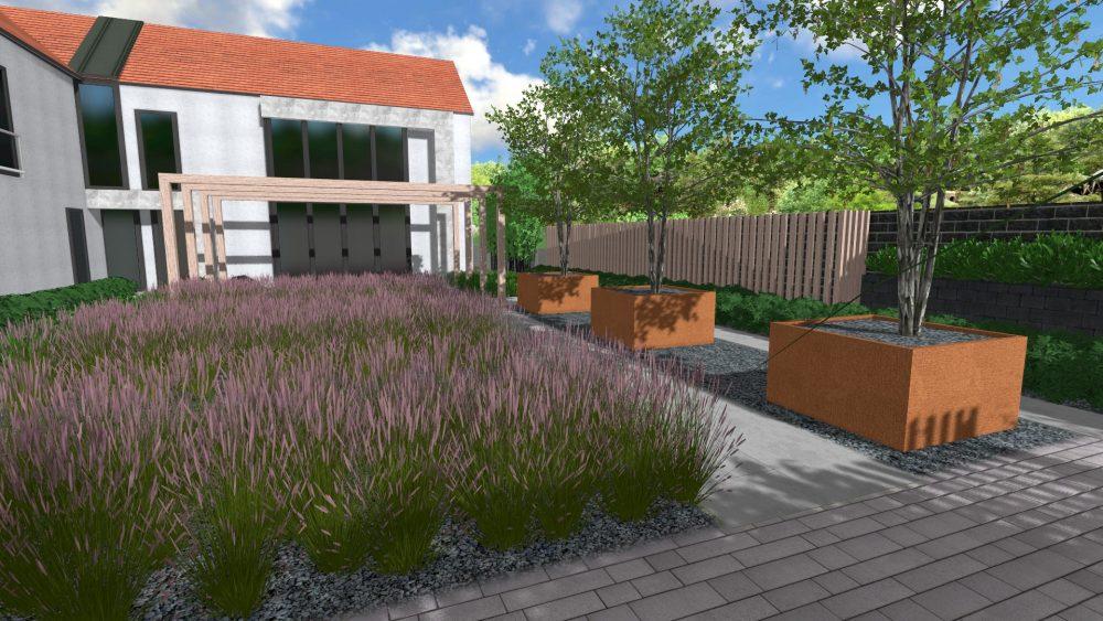 ogród z trawami ozdobnymi nowoczesny projekt zieleni rockandflower studio projekt ogrodu piła poznań rfstudio (8)