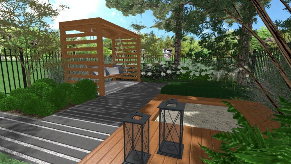 projekt małego ogrodu przy szeregowcu w Poznaniu rockandflower studio rfstudio architektura krajobrazu