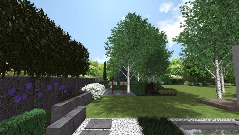 projekt nowoczesnego ogrodu poznan rfstudio beton w ogrodzie