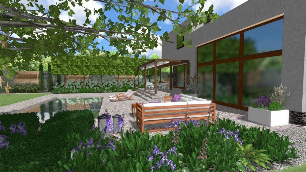 projekt nowoczesnego ogrodu z basenem w Pradze Czechy Poznań rockandflower studio rfstudio architektura krajobrazu nowoczesny ogród