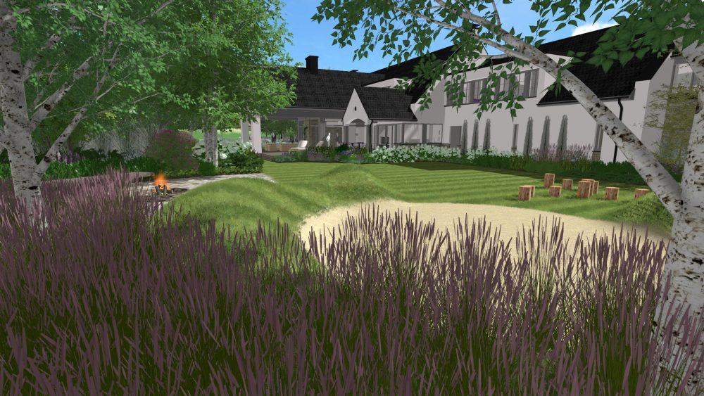 projekt ogrodu przy rezydencji nad jeziorem Poznań projektowanie ogrodu architektura krajobrazu Rock&FlowerStudio Rfstudio
