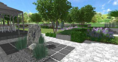 projekt ogrodu w Łęknicy Poznań Zielona Góra Rockandflower Studio Rfstudio projektowanie ogrodów kamień ogrodowy element wodny formowane drzewa architekt krajobrazu