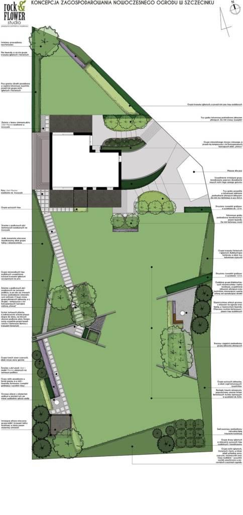 projekt ogrodu nowoczesnego beton w ogrodzie rockandflower studio rfstudio poznań projektowanie ogrodów