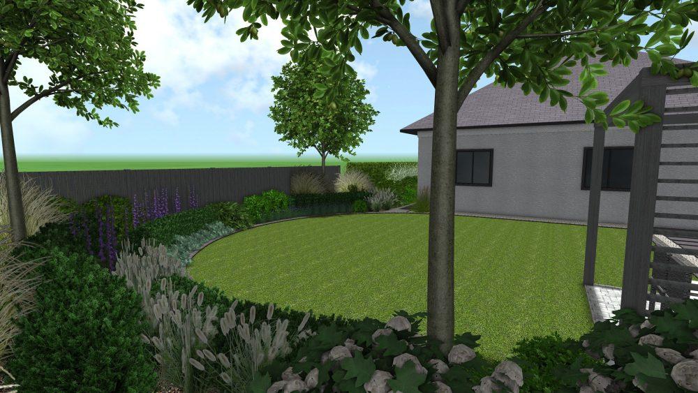 projekt ogrodu z okrągłym trawnikiem Poznań Rokietnica Rockandflower studio