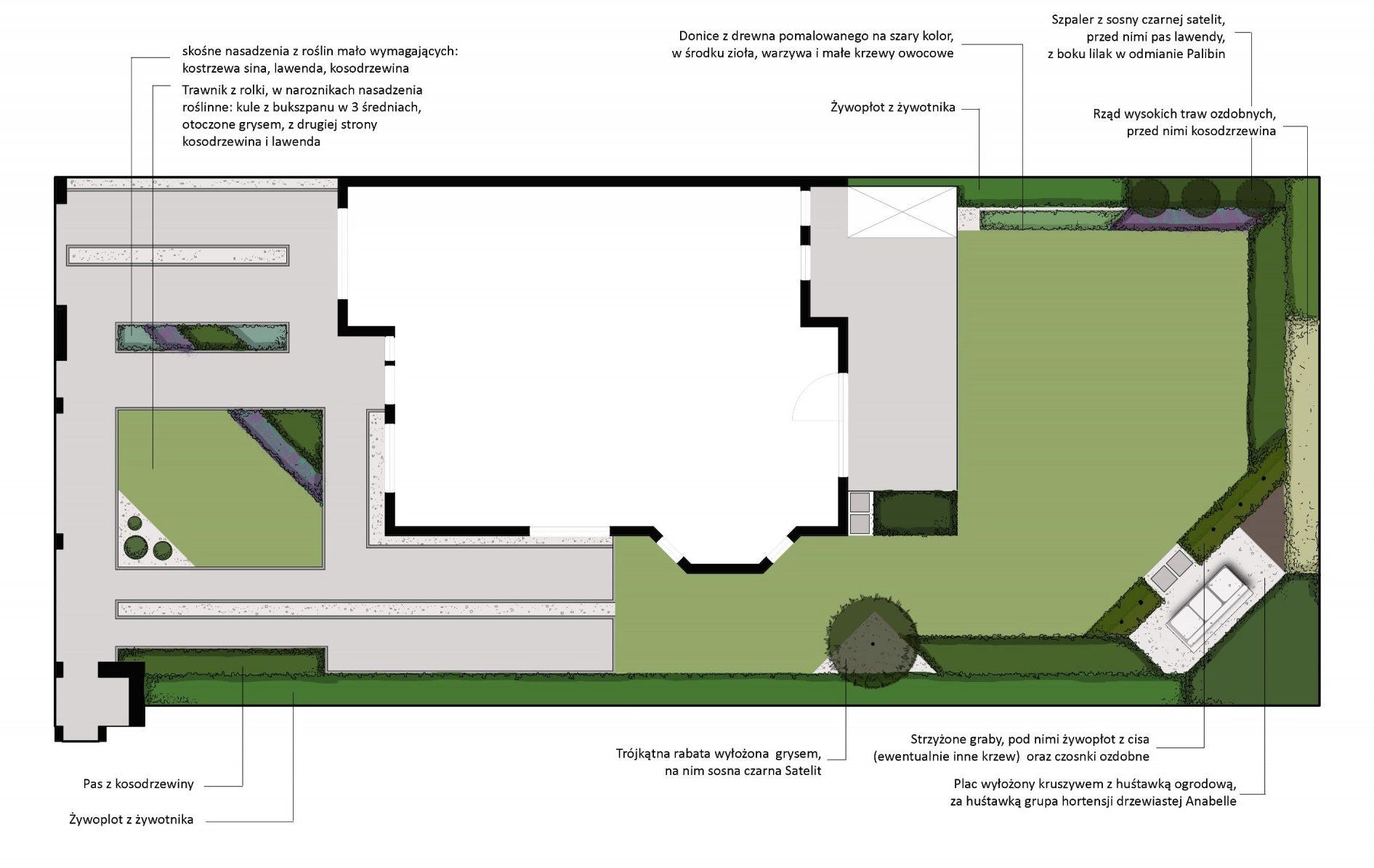 projekt ogrodu ze skosami na Strzeszynie rfstudio