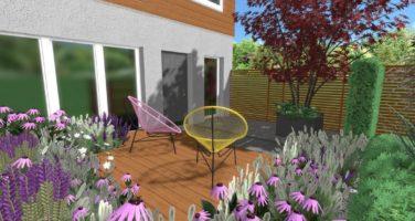 projekt przedogródka Poznań Rockandflower studio acapulco chair rfstudio projekt ogrodu mały ogród
