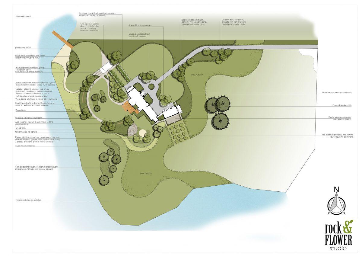 projekt rezydencjonalnego ogrodu w Poznaniu duży ogród projektowanie zieleni rockandflower studio rfstudio ogród nad jeziorem