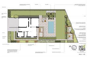 nowoczesny ogród z basenem projekt ogrodu architekturakrajobrazu poznań rfstudio rockandflower studio projektowanie ogrodów