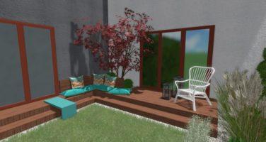 niewielki ogród przy szeregowcu, projekt ogrodu przy szeregowcu, taras wypoczynkowy