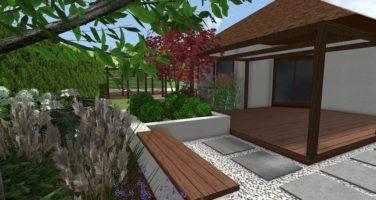nowoczesny ogród - taras w ogrodzie - donice w ogrodzie