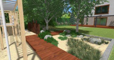 nowoczesny ogród w Poznaniu Luboń rockandflower studio rfstudio drewno w ogrodzie (1)