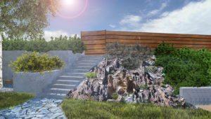 skalniak szczelinowy w ogrodzie, ogród w stylu skandynawskim