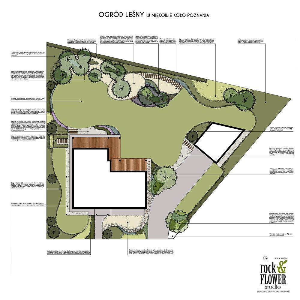ogród w stylu leśnym ogród naturalistycznym projekt ogrodu rockandflowerstudio rfstudio architektura krajobrazu