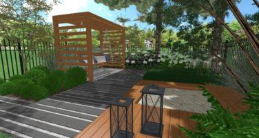 projekt małego ogrodu, ogród przy szeregowcu, ogród nowoczesny