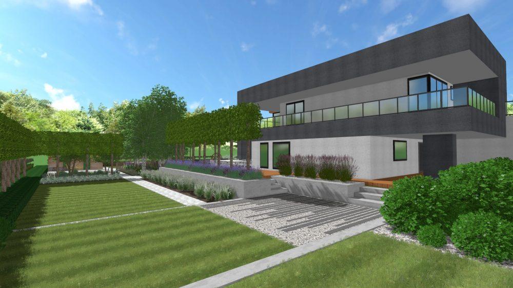 projekt nowoczesneg ogrodu Leszno Wrocław murki betonowe strzyżone graby projektowanie ogrodów poznań architektura krajobraz rockandflowerstudio rfstudio (4)