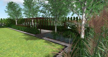projekt ogrodu przy nowoczesnej rezydencji Poznań Luboń Rockandflower studio bonsai