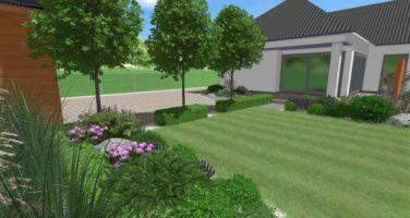 projekt nowoczesnego ogrodu, ogród geometryczny, projekt ogrodu Poznań