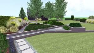 ogród na skarpie, ogród nowoczesny, murki betonowe w ogrodzie