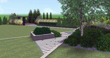 projekt nowoczesnego ogrodu - zagospodarowanie terenu zieleni - płyty betowe w ogrodzie