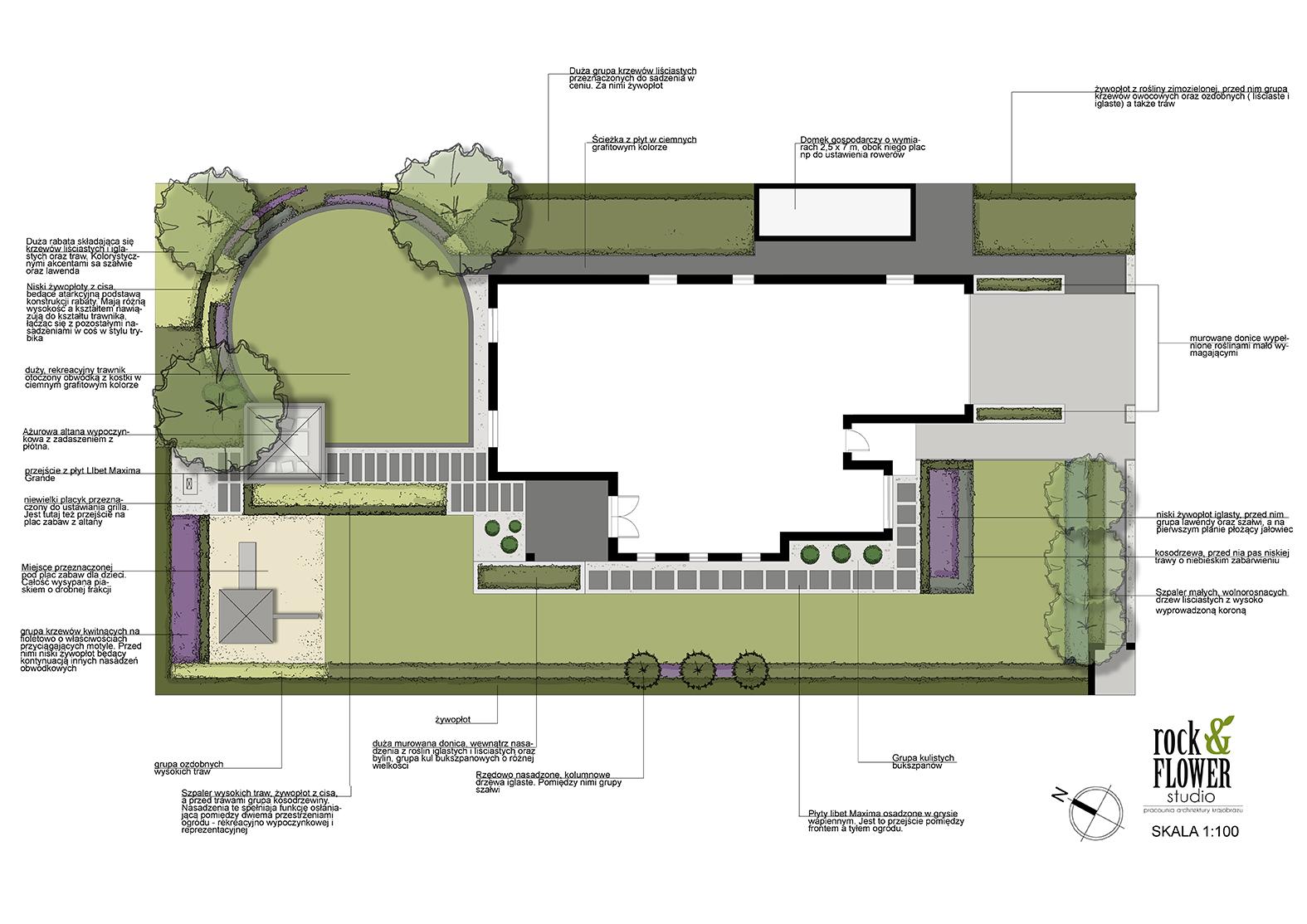 ogród z okrągłym trawnikiem rokietnica ogród w Poznaniu projektowanie ogrodów Poznań Rockandflower studio Rfstudio