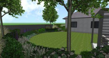 projekt ogrodu przydomowego w Poznaniu, ogrody nowoczesne - ogród nowoczesny z okrągłym trawnikiem
