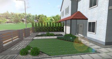 nowoczesny ogród, projekt ogrodu Poznań, nowoczesny front ogrodu